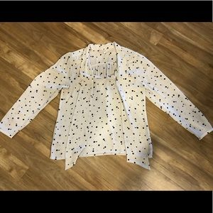 Loft Polka Dot Front Tie Long Sleeve Blouse